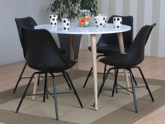 Ronde Eethoek Tafel : Bol tvilum napoli eethoek ronde tafel met zwarte kuipstoelen