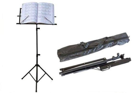 Muziekstandaard Met Tas - Opvouwbaar - Opklapbare Bladmuziek Lessenaar Houder Statief - Muziek Staander Hoog - Zwart