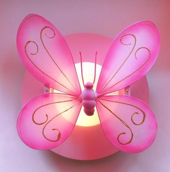Funnylight kinderlamp roze met roze vlinder-plafonniere