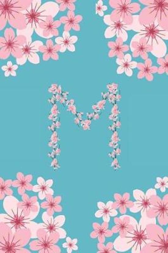 M Monogram Letter M Cherry Blossoms Journal Notebook