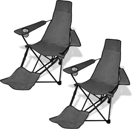 Vouwstoel Met Voetsteun.Bol Com Campingstoel Met Voetensteun Inklapbaar Grijs