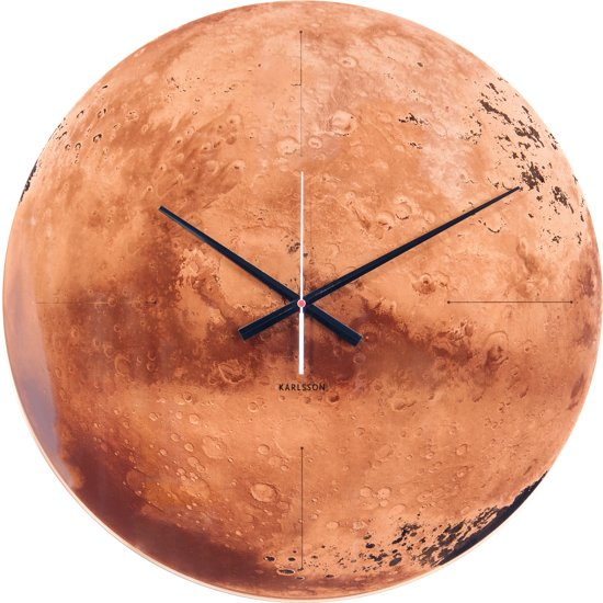 Wall clock Mars copper mirror glass, silent movem.