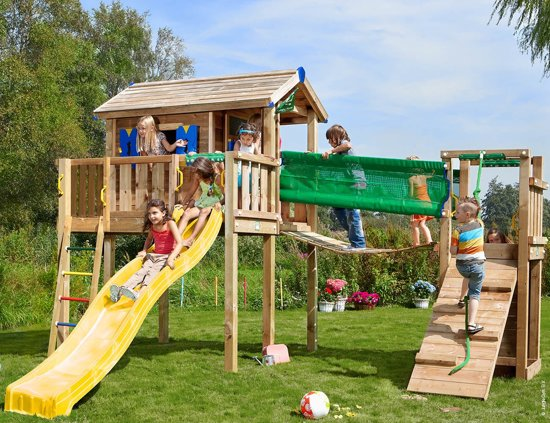 Jungle Gym – Playhouse XL Bridge - Speeltoestel Brug - Met Glijbaan - Geel