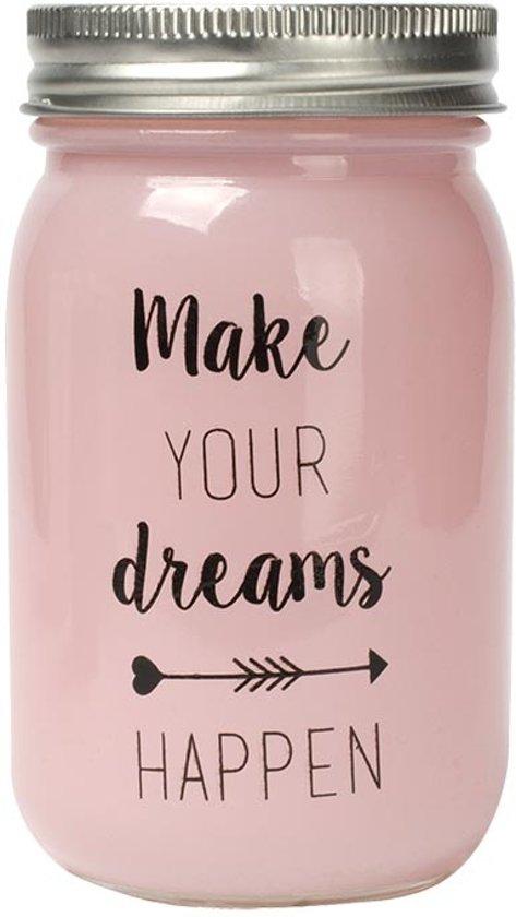 """Dresz Spaarpot """"Make your dreams happen"""" - Roze geverfd glas - 7x13cm"""