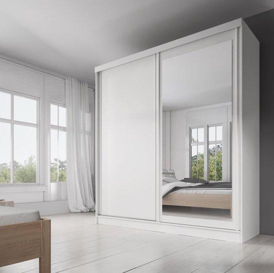 Witte Kleerkast Met Spiegel.Meubella Allison Kledingkast Wit 200 Cm 10 Schappen