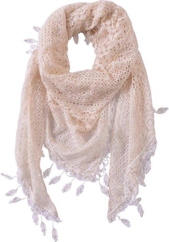 Broderie Ibiza sjaal | omslagdoek kant | 100% katoen | Beige | bohemian | pareo | driehoek sjaal