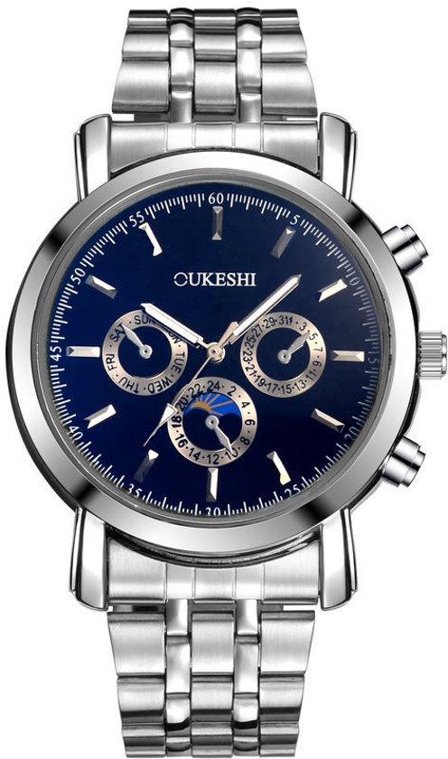Oukeshi Silver Blue Steel - Heren Horloge - Staal - Zilver Blauw