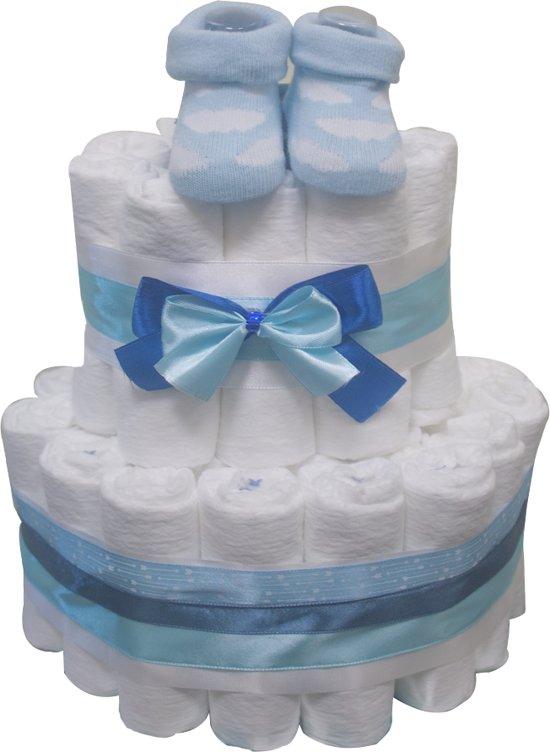 Pampertaart / luiertaart jongens blauw 2-laags (maat1) 2-5 kg babyshower - geboorte - kraamcadeau