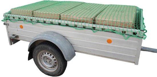Trailer- en bagagenet 2 x 3 m groen