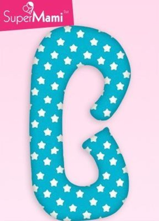 Zwangerschapskussens / Voedingskussen  -  C vorm - Turquoise met witte peperkoek