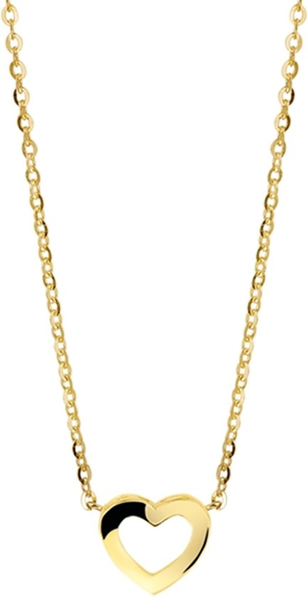The Jewelry Collection Ketting Hart 41 + 4 cm - 14 karaat goud