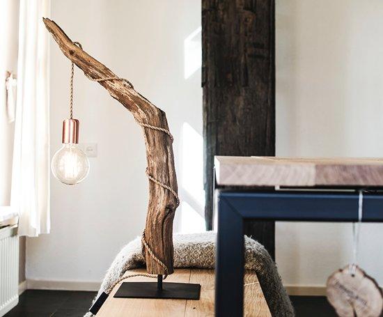 bol houten tafellamp met kooldraad gloeilamp scheepstouw kabel