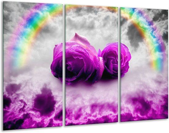 Glasschilderij Roos | Paars, Grijs | 120x80cm 3Luik | Foto print op Glas |  F005864