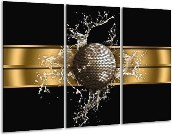 Glasschilderij Abstract   Zwart, Goud, Bruin   120x80cm 3Luik   Foto print op Glas    F004210