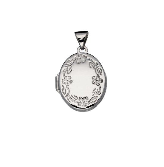 Classics&More medaillon - zilver - 19 x 14 mm - ovaal - bloemmotief - gerodineerd