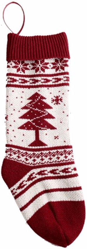 Decoratie Kous Kerst Snowflake| Rood Wit | Kous voor boven de haard