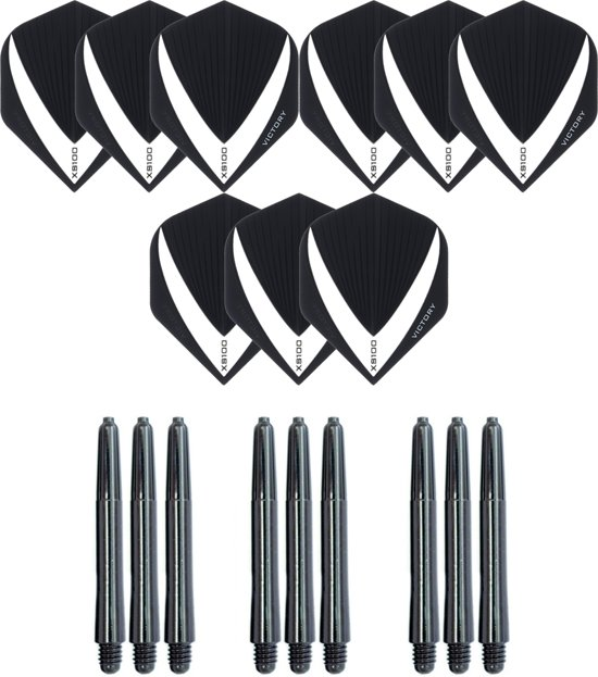 3 sets (9 stuks) Super Sterke – Smokey - Vista-X – darts flights – inclusief 3 sets (9 stuks) - medium - darts shafts