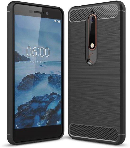 Nokia 6 2018 Hoesje Rugged Tpu Case Zwart