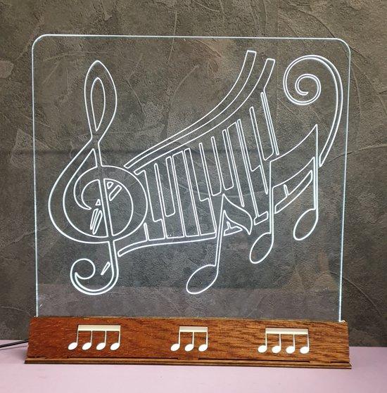 Muzieknoot Piano -Tafellamp - Nachtlamp - Led - Lamp - Houten - Voet - Plexiglas - Doorzichtig