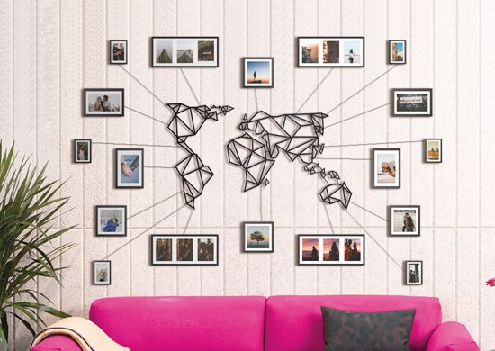 Metalen Wereldkaart Zwart XL - Groot Formaat - Metal World Map Black XL - Hoagard Wall Deco | Best Seller | Muurdecoratie | De Leukste Woondecoratie Idee |Origineel en Uniek Cadeau Idee | Perfect Gift for Travel Lovers