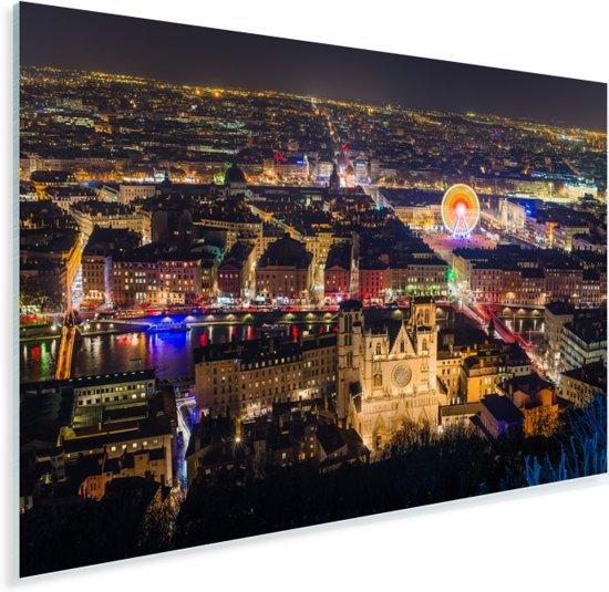 Uitzicht over Lyon in de nacht in Frankrijk Plexiglas 90x60 cm - Foto print op Glas (Plexiglas wanddecoratie)