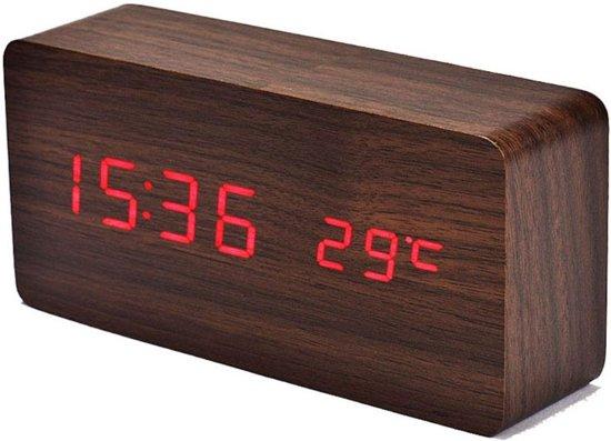 Knaldeals.com - houten digitale wekker klok - bruin
