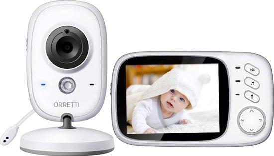 Orretti® V8 Babyfoon met camera -  Groot LCD scherm - Sterk Zendbereik - Bidirectionele spraakondersteuning - Temperatuurbewaking - Slaapliedjes - Lange Afstand en hoge Batterij Capaciteit - Wit