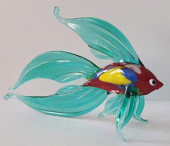 Beeld Vis van glas Design A Blauwe vinnen handgemaakt
