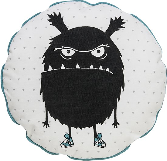 Bloomingville Kids - Sierkussen incl. Vulling Monster - Katoen 40 cm - Wit/Groen