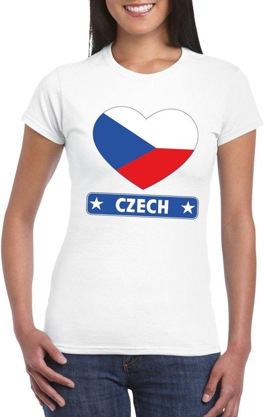 Tsjechie hart vlag t-shirt wit dames L