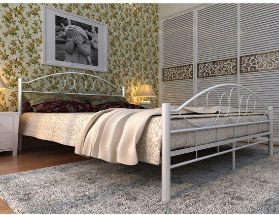 Tweepersoonsbed Inclusief Matras : Bol vidaxl metalen bed inclusief matras cm wit