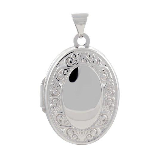 Classics&More medaillon - zilver - 23 x 17 mm - ovaal - bewerkt - gerodineerd