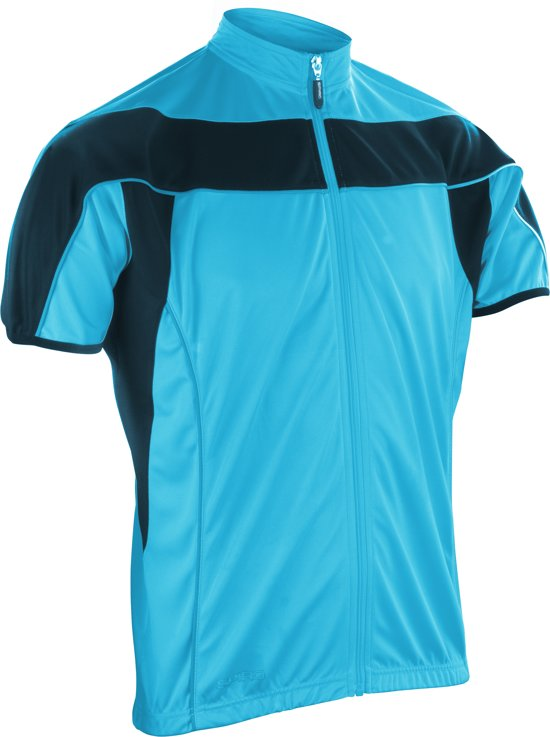 Spiro bikewear full zip top, Kleur Aqua/Black, Maat XL