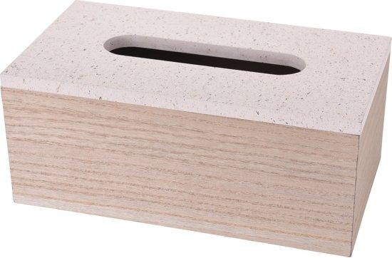 Uitgelezene bol.com | Creme tissuebox/tissuedoos van hout 24 cm PC-95