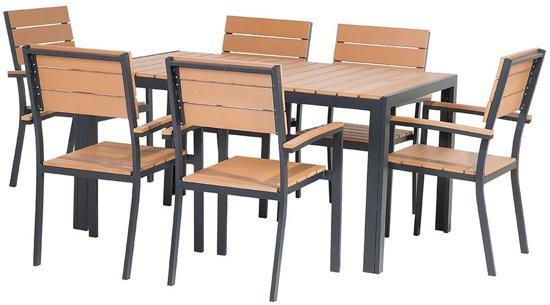Cool Bol Com Beliani Como Tuinset Bruin 6 Stoelen En 1 Tafel Andrewgaddart Wooden Chair Designs For Living Room Andrewgaddartcom
