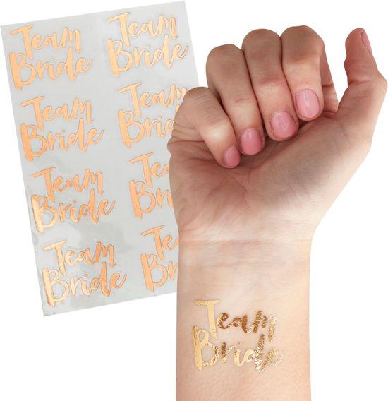 Tattoos voor vrijgezellenfeest - Rose Goud - Team bride (16 stuks)