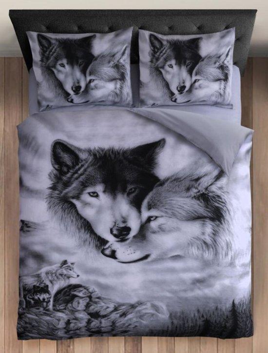 Dekbedovertrek Wolf - Zwart/Wit Maat: 2-Persoons (200 x 220 cm + 2 kussenslopen 60x70cm)
