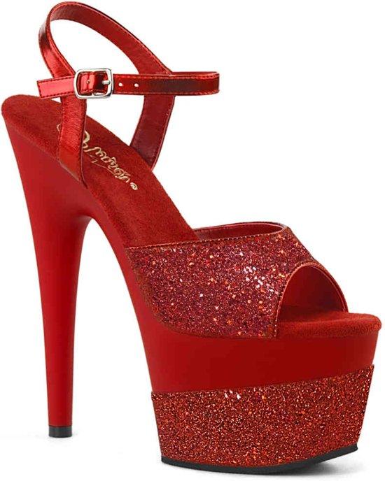 Pleaser Sandaal met enkelband -38 Shoes- ADORE-709-2G Rood
