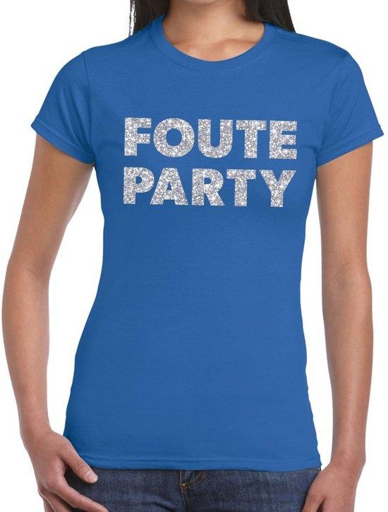 Foute Party zilveren glitter tekst t-shirt blauw dames - foute party kleding 2XL