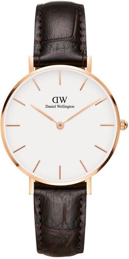 Daniel Wellington Petite Rosé York White DW00100176 - Horloge - Leer - Bruin - Ø 32mm