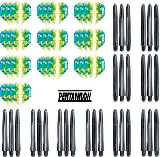 Dragon Darts - 10 sets (30 stuks) Pentathlon Explosion darts flights - super stevig - blauw-groen - incl. 10 sets (15 stuks) - medium - darts shafts - zwart