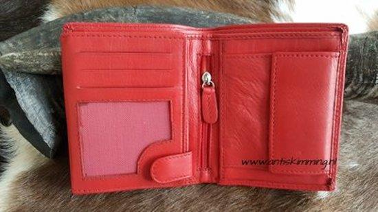 7bacd5641d0 Anti Skim portemonnee - Rfid portemonnee Rood - Lederen portemonnee -