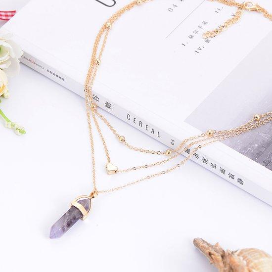 Fashionidea - Mooie goudkleurige driedelige ketting choker model met paarse hanger