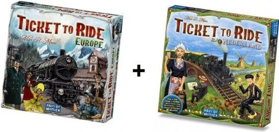 Ticket to Ride Europe + uitbreiding Ticket to Ride Nederland - Bordspel - Combi Deal