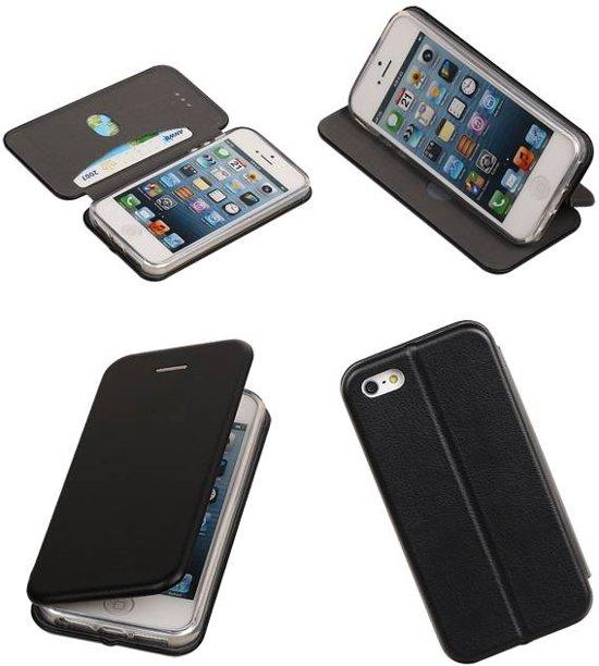Zwart Folio Slim Stand bookcase TPU case voor Apple iPhone 5 5s SE cover in Waudrez