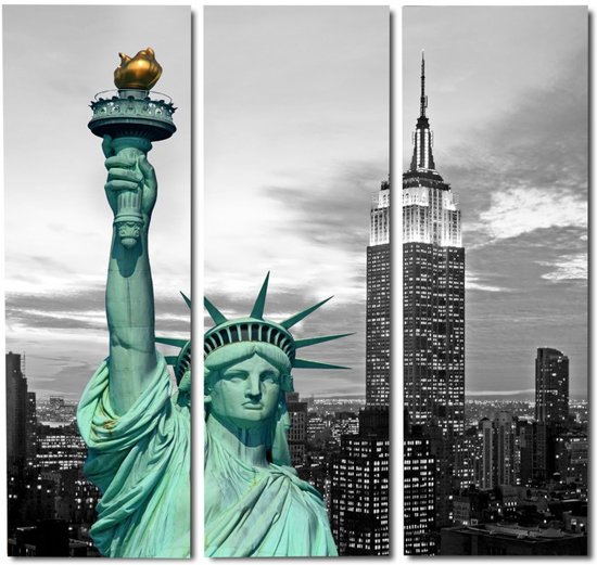 bol.com : 90*90cm Drieluik schilderij canvas foto Liberty New York