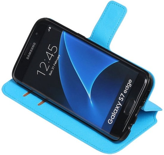 Blauw Samsung Galaxy S7 Edge TPU wallet case booktype hoesje HM Book