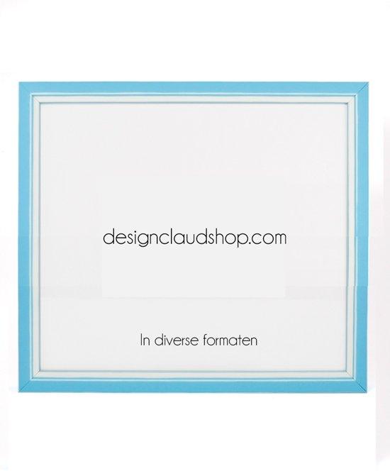 DesignClaud Houten wissellijst - Fotolijst met Glas - 3D effect - Lichtblauw + Wit 50x65 cm
