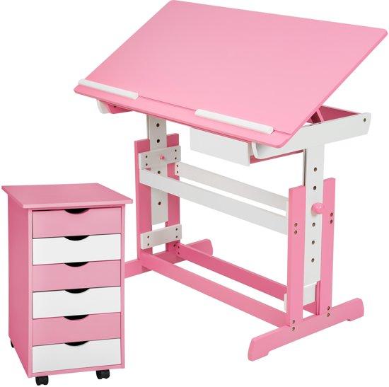 Tectake 401240 verstelbaar bureau 109 cm for Ladeblok roze