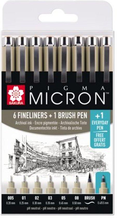 Sakura Pigma Micron 6 zwarte fineliners + 1 brushpen + 1 gratis pigment pen